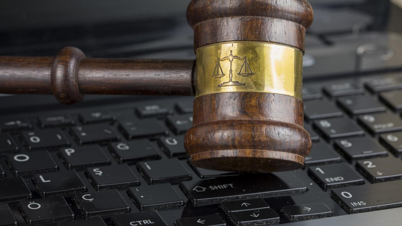 gavel on laptop